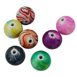 Мънисто имитация фимо топче 18 мм дупка 2 мм микс -50 грама ~15 броя