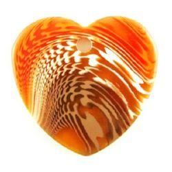 Pandantiv inimă 34x36x3 mm gaura  3,5 mm transparent multicolor portocaliu -4 bucăți