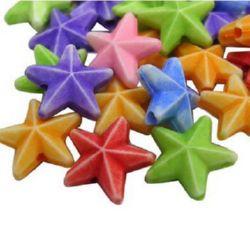 Мънисто прано звезда 10 мм дупка 1.2 мм МИКС -50 грама ~260 броя