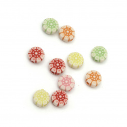 Мънисто прано цвете 8.5x5 мм дупка 1.5 мм цветно -50 грама ~270 броя