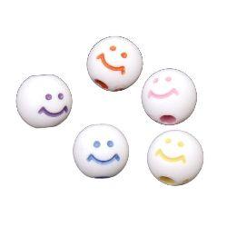 Mărgele bila zâmbet 7 ~ 8 mm gaură 1 ~ 1,5 mm culoare -20 grame ~ 72 bucăți