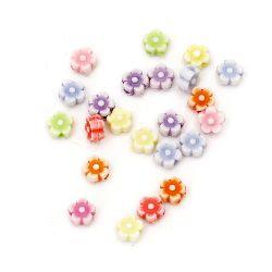 Мънисто прано цвете 7x3 мм дупка 1 мм микс -50 грама ~470 броя