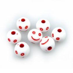 Margele bile zâmbet 10 mm gaură 3 mm alb și roșu -50 grame ~ 96 bucăți