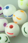 Мънисто прано топче усмивка 8 мм дупка 1 мм МИКС -20 грама ±75 броя