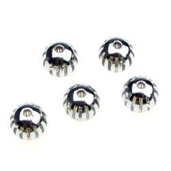 Minge transparentă cu dungi metalice 10 mm gaură 2 mm argintiu - 10 bucăți