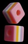 Κύβος ρητίνη 10x10x9.5 mm τρύπα 4 mm ροζ με έγχρωμες γραμμές -50 τεμάχια