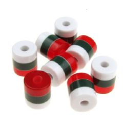 Resin acrylic beads, striped cylinder 9x8 mm strips white green red - 20 pieces