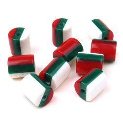 Цилиндър резин 9x8 мм райе бяло зелено червено -20 броя