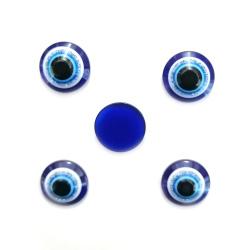 Emisferă albastru cu desen ochi 12x5 mm pentru lipit -20 bucăți