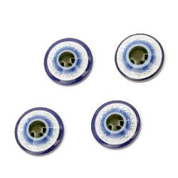 Emisferă albastru cu desen ochi 18x6 mm pentru lipit cu brocat -10 bucăți