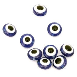 Evil eye, Beads, Flat round, Resin, Hole size 1mm, 10x5mm, 50pcs