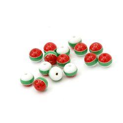 Топче резин райе 6 мм дупка 1 мм бяло зелено червено -50 броя