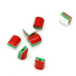 Цилиндър резин 6x6 мм дупка 1 мм бяло зелено червено -50 броя