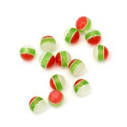 Топче 6 мм дупка 1 мм котешко око бяло зелено червено -50 броя