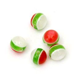 Топче 8 мм дупка 2 мм котешко око бяло зелено червено -50 броя