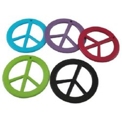 """Resin acrylic pendant """"Peace"""" sign 20 mm hole 1 mm mixed colors - 10 pieces"""