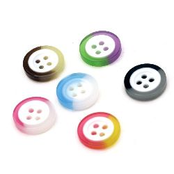 Resin round button 13x3mm hole 1mm mixed two-color - 10 pieces