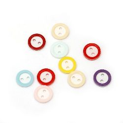 Resin round button 11x2 mm hole 1.5 mm MIX - 10 pieces