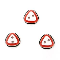 Resin button for sewing, scrapbooking, DIY home decoration accessories 12.5x3.5 mm hole 1.5 mm red - 10 pieces