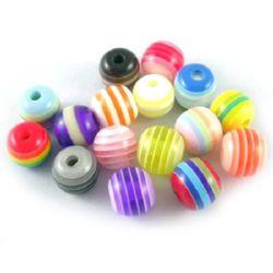 Σφαίρα ρητίνη 8 mm τρύπα 2 mm πολύχρωμα -50 τεμάχια