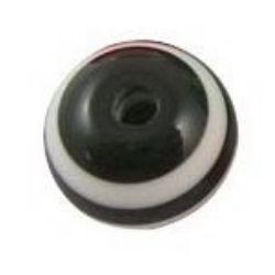 Топче 8 мм дупка 2 мм резин черно с бели линии -50 броя