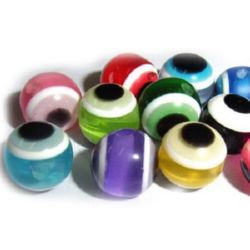 Acrylic Evil Eye Beads, Round Ball 8 mm hole 2 mm MIX -50 pieces