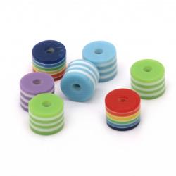 Мънисто резин цилиндър 8x6 мм дупка 2 мм МИКС с бяло райе -50 броя