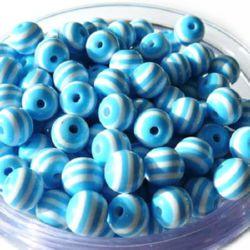Топче 6 мм дупка 2 мм резин синьо светло -50 броя
