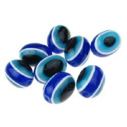 Овал око 12x9 мм дупка 2 мм син 4 цвята -50 броя