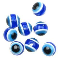 Топче око 12x10 мм дупка 2 мм синьо -20 броя