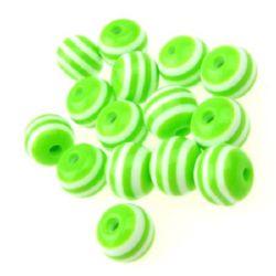 Σφαίρα ρητίνη 8x7 mm τρύπα 2 mm πράσινο με λευκές ρίγες -50 τεμάχια