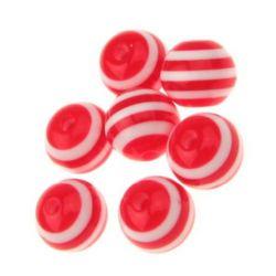Топче 10x9 мм дупка 2 мм резин червено с бяло райе -50 броя