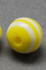 Топче 10x9 мм дупка 2 мм резин жълто с бяло райе -50 броя