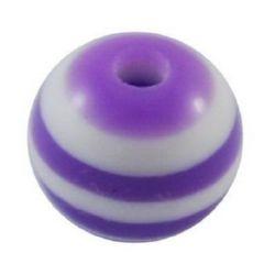Мънисто резин топче 10x9 мм дупка 2 мм лилаво с бяло райе -50 броя