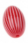 Овал 27x18 мм дупка 3 мм резин червено/бял -5 броя