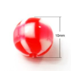 Топче резин 10 мм дупка 2 мм меланж червено бяло -50 броя