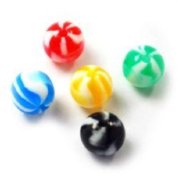 Топче резин 10 мм дупка 2 мм меланж цветно -50 броя