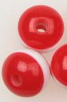 Σφαίρα ρητίνη 10x9 mm τρύπα 3 mm κόκκινο και λευκό -50 τεμάχια