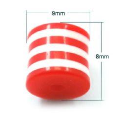 Цилиндър резин 9x8 мм райе червено и бяло -50 броя