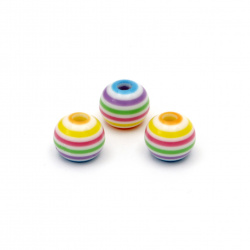 Топче резин райе 10x8.5 мм дупка 4 мм цветно -20 броя