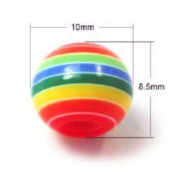 Σφαίρα ρητίνη 10x8.5 mm τρύπα 4 mm πολύχρωμα -20 τεμάχια