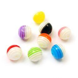 Топче резин райе 10 мм дупка 2 мм цветно -20 броя