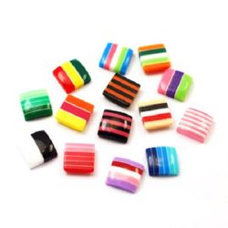 Resin square bead cabochon 10x10x3.5 mm mix - 50 pieces