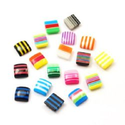 Resin square bead cabochon with stripes 8x8x3 mm mix - 50 pieces