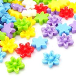 Colorful resin flower bead type cabochon 17x6 mm mixed colors - 10 pieces
