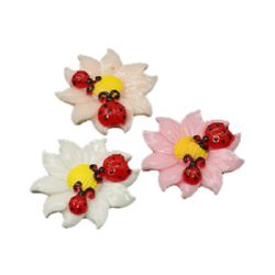 Resin flower with ladybugs bead type cabochon 27x6.5 mm assorted - 1 piece