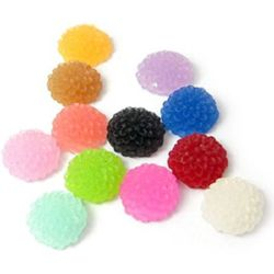 Dense resin flower bead type cabochon  10x5 mm mix - 20 pieces