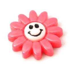 Resin flower with a smile bead cabochon   20x20x5 mm pink - 5 pieces