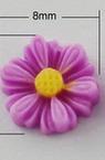 Цвете резин тип кабошон 9x8x3 мм лилаво -10 броя