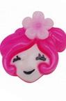 Мънисто резин тип кабошон момиче 11x11x5 мм розово -20 броя